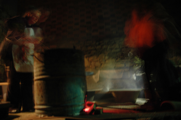 Raku firing at night